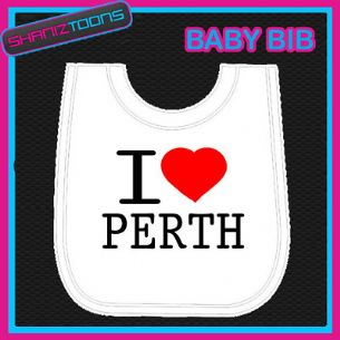 I LOVE HEART PERTH WHITE BABY BIB EMBROIDERED